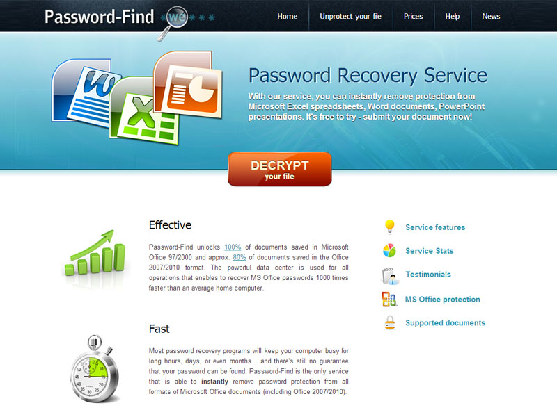 Password-Find service for MS Excel